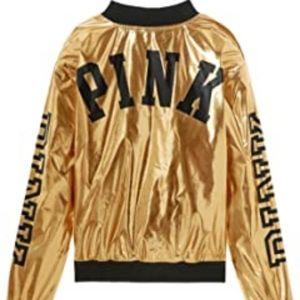 PINK Victoria's Secret Gold Bomber Jacket Coat SM